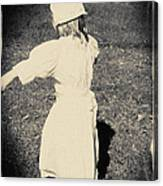 Colonial Girl Playing Canvas Print