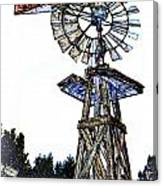 Color Drawing Antique Windmill 3005.05 Canvas Print