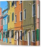 Color Houses In Row Canvas Print