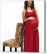 Color Portrait Young Pregnant Spanish Woman Leaning On Chair Canvas Print