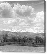 Colorado Front Range Rocky Mountains Panorama Bw Canvas Print