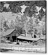 Colorado Rocky Mountain Barn Bw Canvas Print