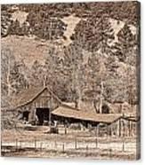 Colorado Rocky Mountain Barn Sepia Canvas Print