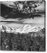Colorado Rocky Mountain View Black And White Canvas Print