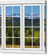 Colorado Rocky Mountains White Window Frame View Canvas Print