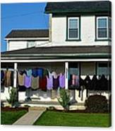 Colorful Amish Laundry On Porch Canvas Print