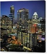 Colorful Austin Skyline At Night Canvas Print