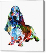 Colorful Basset Canvas Print