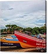 Colorful Boats And Lighthouse Canvas Print