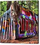 Colorful Box Car In The Forest Canvas Print