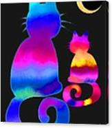 Colorful Cats And The Moon Canvas Print