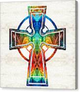 Colorful Celtic Cross By Sharon Cummings Canvas Print