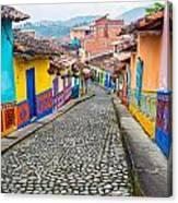 Colorful Cobblestone Street Canvas Print
