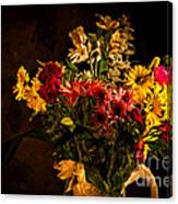 Colorful Cut Flowers In A Vase Canvas Print
