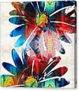 Colorful Daisy Art - Hip Daisies - By Sharon Cummings Canvas Print