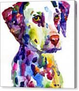 Colorful Dalmatian Puppy Dog Portrait Art Canvas Print