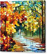 Colorful Forest - Palette Knife Oil Painting On Canvas By Leonid Afremov Canvas Print