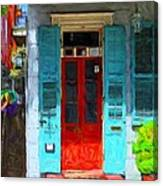 Colorful French Quarter Door  Canvas Print