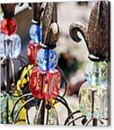 Colorful Glass And Metal Garden Ornaments Canvas Print