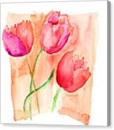 Colorful Illustration Of Red Tulips Flowers  Canvas Print