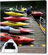 Colorful Kayaks At Whistler Bc Canvas Print