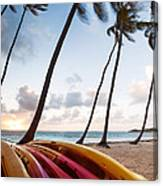 Colorful Kayaks On Beach In The Caribbean Canvas Print