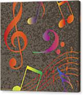 Colorful Musical Notes On Textured Background Illustration Canvas Print