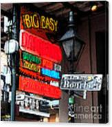 Colorful Neon Sign On Bourbon Street Corner French Quarter New Orleans Fresco Digital Art Canvas Print