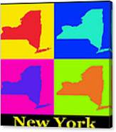 Colorful New York State Pop Art Map Canvas Print