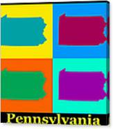 Colorful Pennsylvania Pop Art Map Canvas Print
