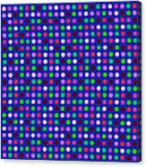 Colorful Polka Dots On Blue Fabric Background Canvas Print