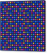 Colorful Polka Dots On Dark Blue Fabric Background Canvas Print