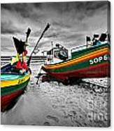 Colorful Retro Ship Boats On The Beach Canvas Print