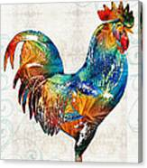 Colorful Rooster Art By Sharon Cummings Canvas Print