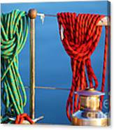 Colorful Rope Detail On Yacht Canvas Print