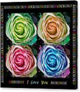 Colorful Rose Spirals With Love Canvas Print