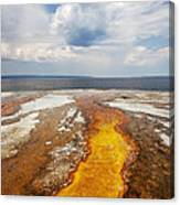 Colorful Runoff From Black Pool Leads To Yellowstone Lake Canvas Print