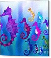 Colorful Sea Horses Canvas Print