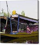 Colorful Shikaras Tied Up Next To The Dal Lake In Srinagar Canvas Print