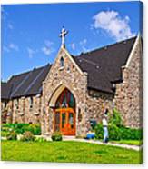 Colorful Stone Catholic Church In North Bay Of Lake Nipissing-on Canvas Print