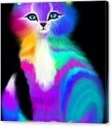 Colorful Striped Rainbow Cat Canvas Print