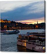 Colorful Sunset In Budapest With A Panoramic View Of The River D Canvas Print