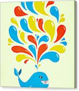 Colorful Swirls Happy Cartoon Whale Canvas Print