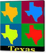 Colorful Texas Pop Art Map Canvas Print