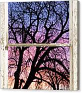 Colorful Tree White Farm House Window Portrait View Canvas Print
