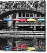 Colorful Umbrellas Reflected In Riverwalk Under Foot Bridge San Antonio Texas Color Splash Digital Canvas Print