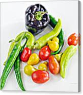 Colorful Veggies On White Canvas Print