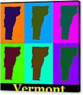 Colorful Vermont Pop Art Map Canvas Print