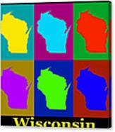 Colorful Wisconsin Pop Art Map Canvas Print