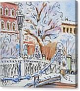 Colors Of Russia Winter In Saint Petersburg Canvas Print
